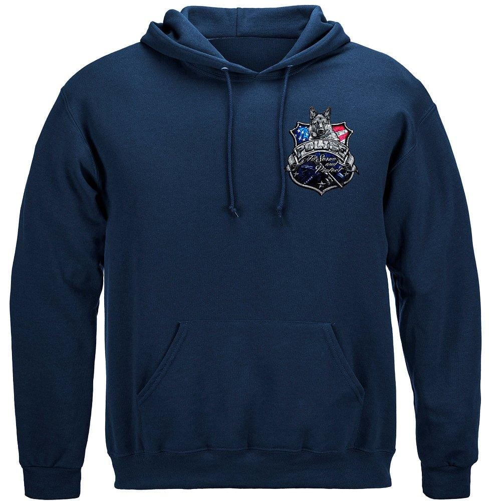 Elite Breed Police Force To Serve and Protect Silver Foil Premium Hooded Sweat Shirt