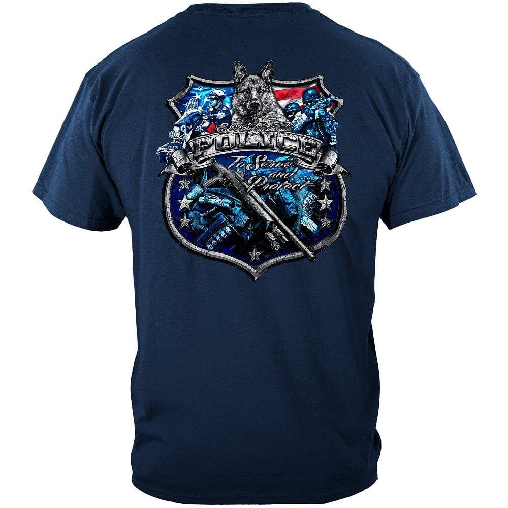 Elite Breed Police Force To Serve and Protect Silver Foil Premium Long Sleeves