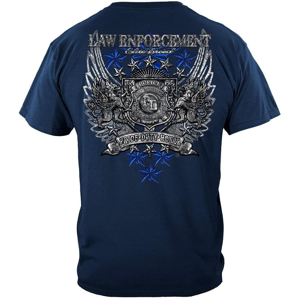 Elite Breed Law Enforcement Chrome Wings Silver Foil Premium T-Shirt