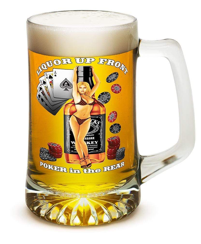 Liquor up front poker in the Rear 25oz Tankard Glass Set