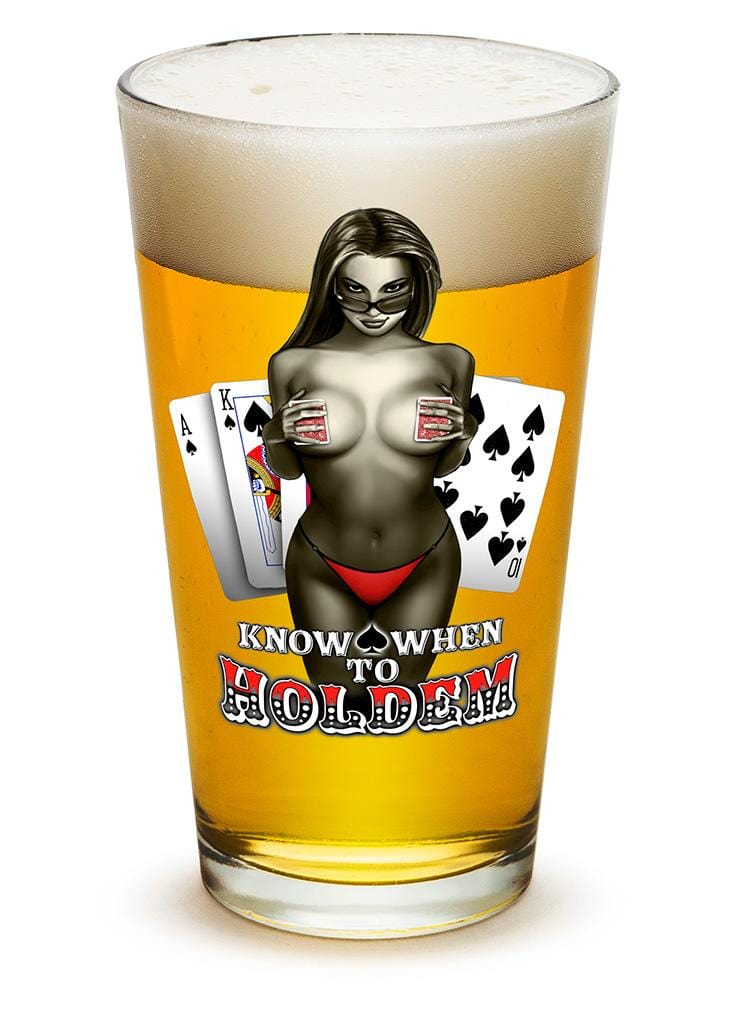 Know when to hold them Poker 16oz Pint Glass Glass Set