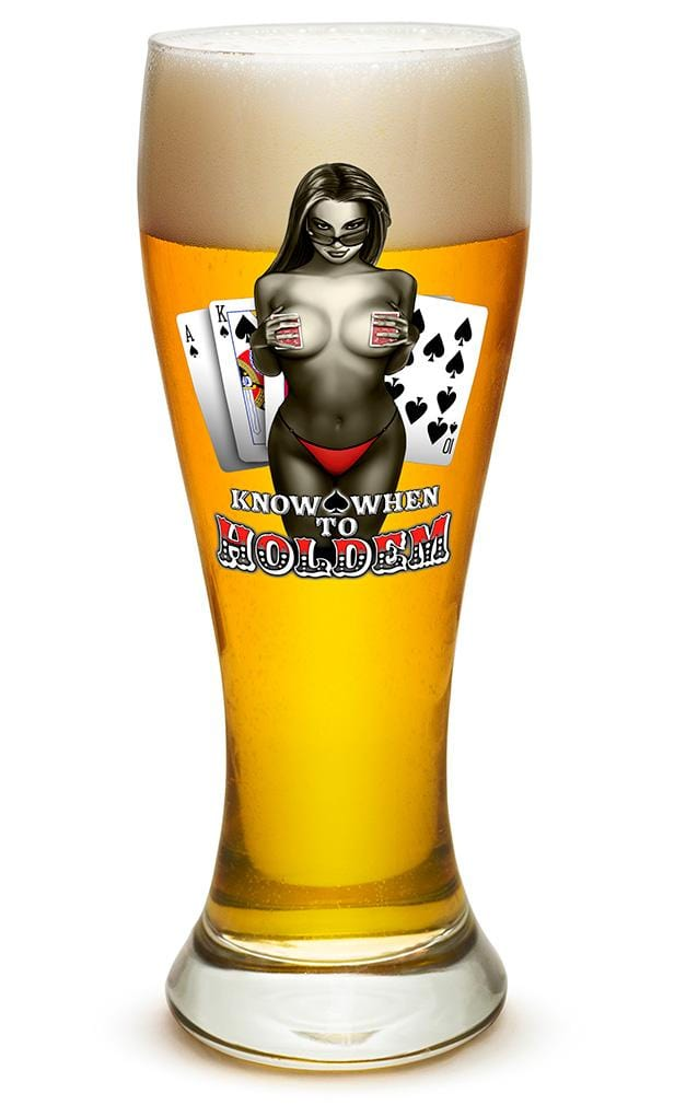 Know when to hold them Poker 23oz Pilsner Glass Glass Set