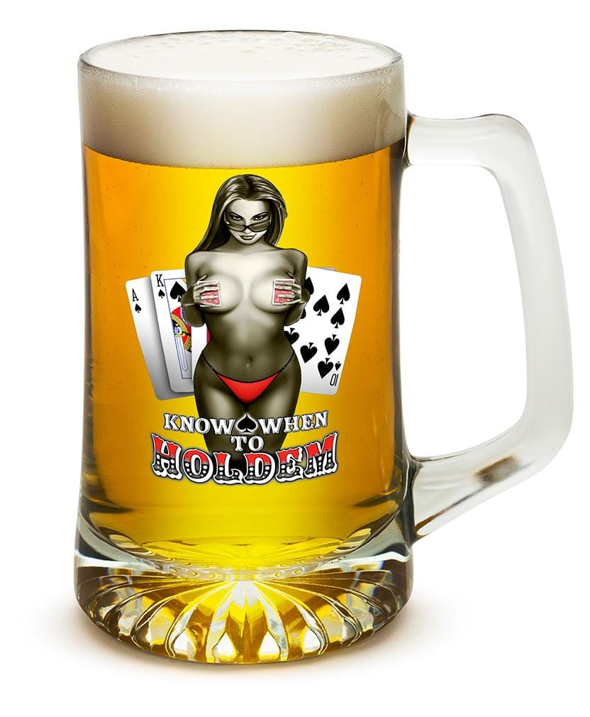 Know when to hold them Poker 25oz Tankard Glass Set