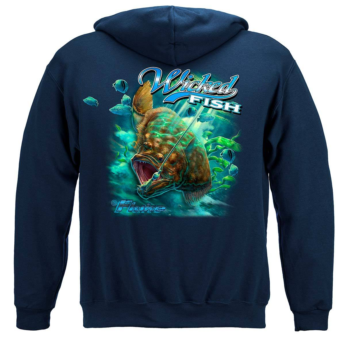 Wicked Fish Fighting Buck Tail Fluke Lure Premium Hooded Sweat Shirt
