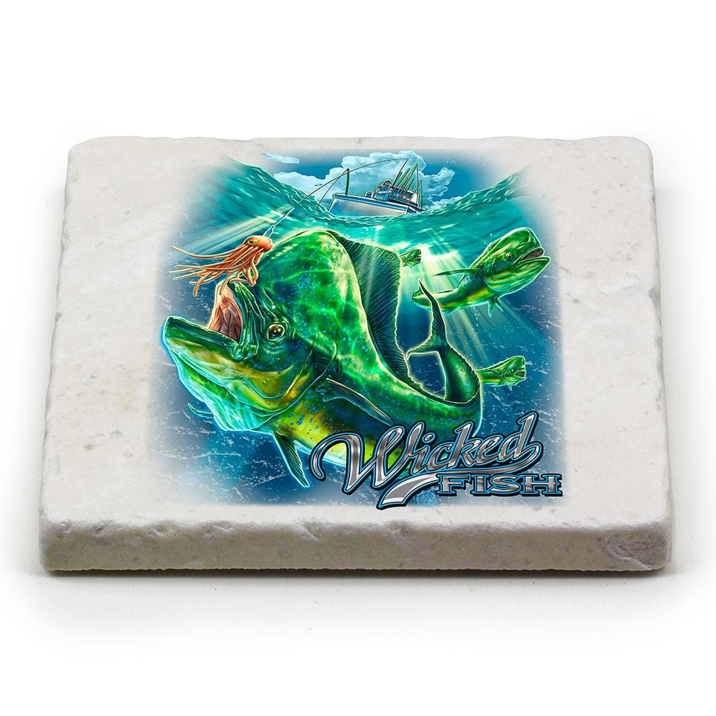 Fishing Wicked Fish Mahi Mahi Ivory Tumbled Marble 4IN x 4IN Coasters Gift Set