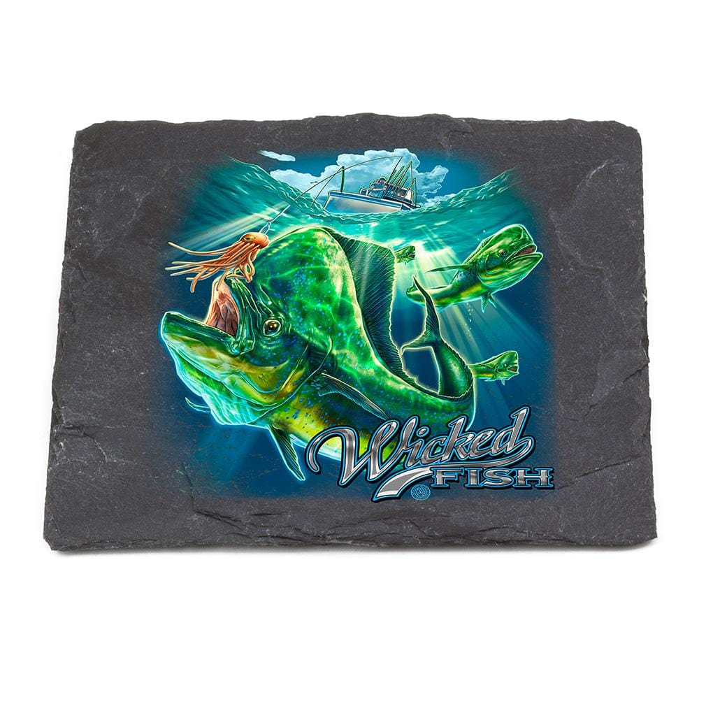 Fishing Wicked Fish Mahi Mahi Black Slate 4IN x 4IN Coasters Gift Set