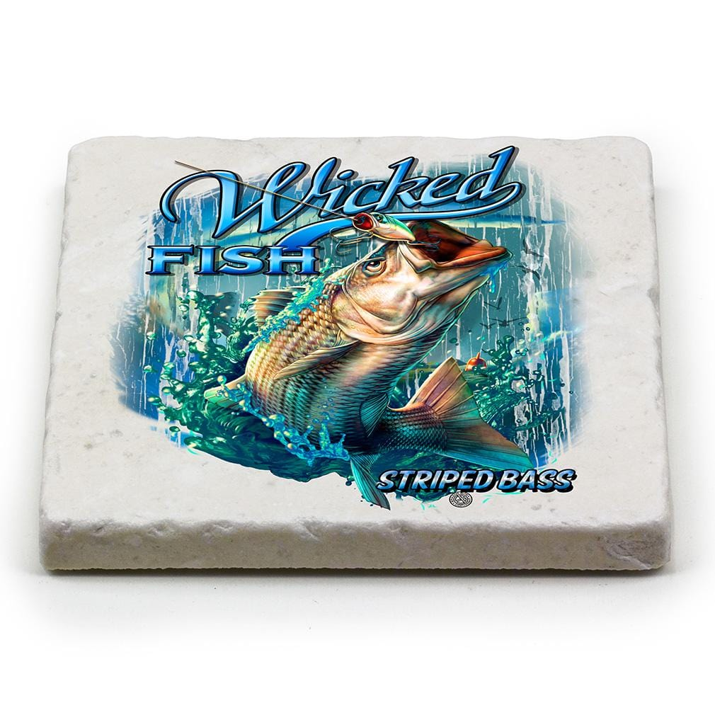 Fishing Wicked Fish Striped Bass with Popper Air Born Ivory Tumbled Marble 4IN x 4IN Coasters Gift Set