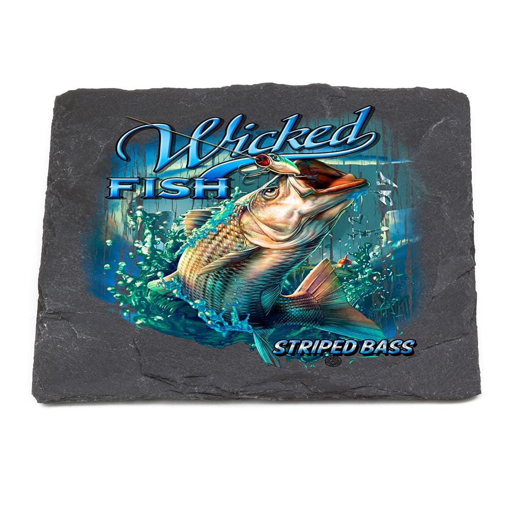 Fishing Wicked Fish Striped Bass with Popper Air Born Black Slate 4IN x 4IN Coasters Gift Set