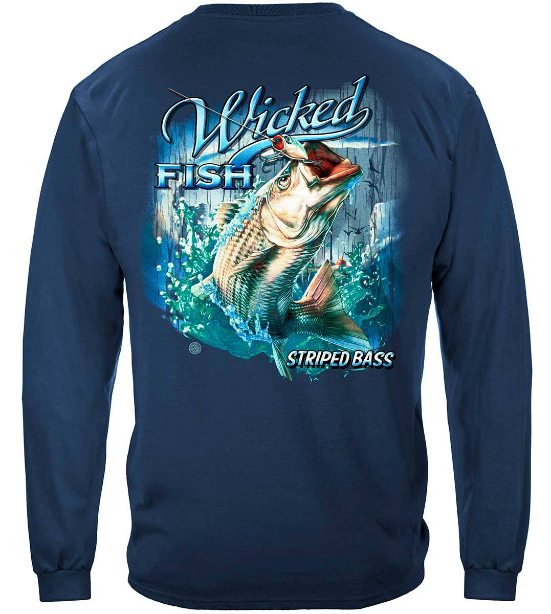Wicked Fish Striped Bass With Popper Air Born Premium Long Sleeves