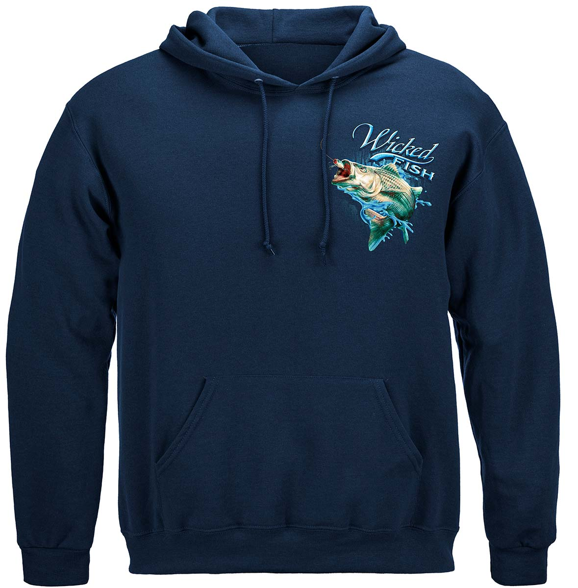Wicked Fish Striped Bass With Popper Air Born Premium Hooded Sweat Shirt