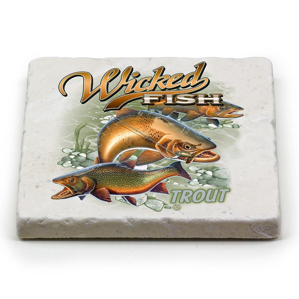 Fishing Wicked Fish Trout Ivory Tumbled Marble 4IN x 4IN Coasters Gift Set