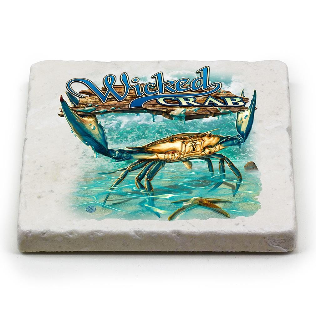 Fishing Wicked Fish Crab and Star Fish Ivory Tumbled Marble 4IN x 4IN Coasters Gift Set