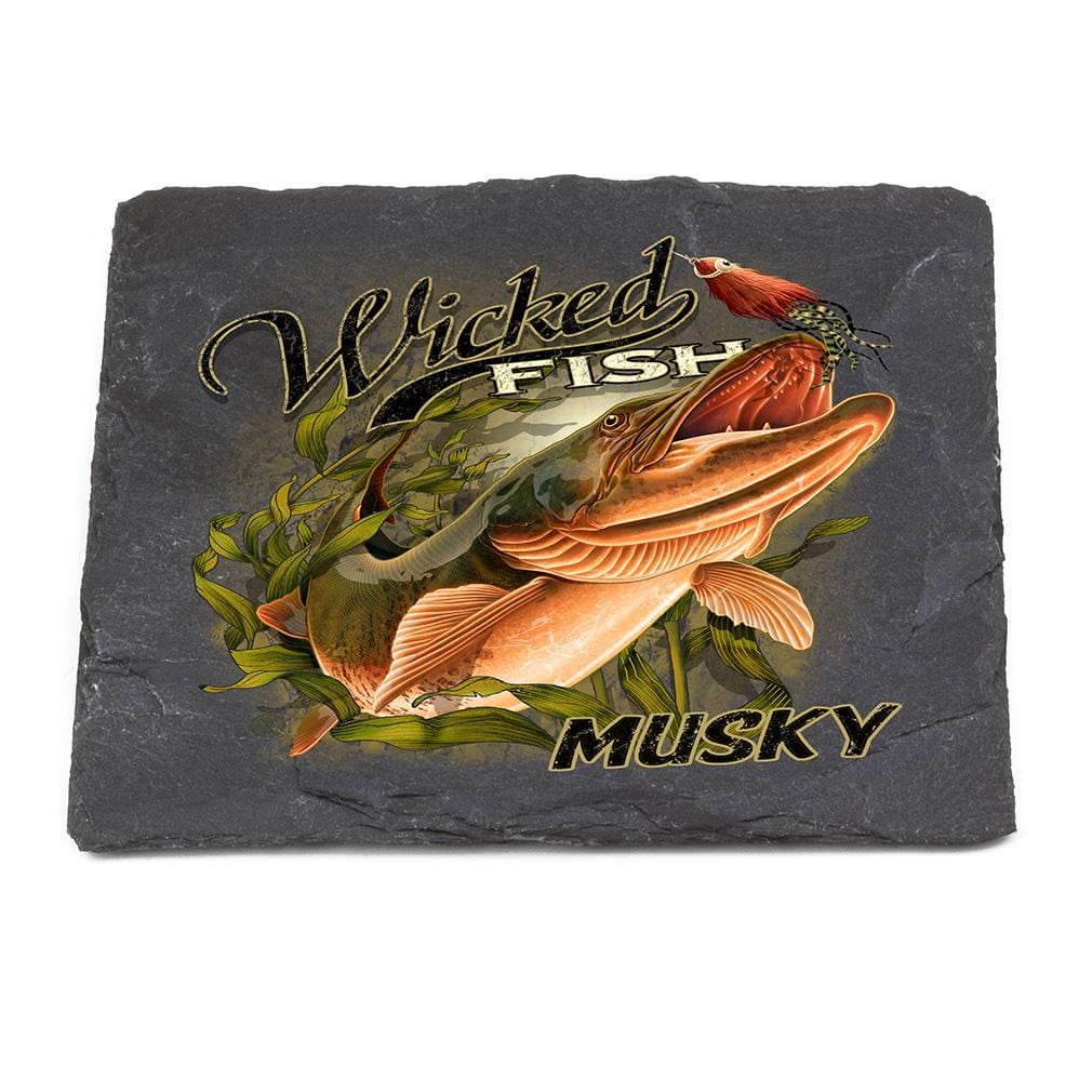 Fishing Wicked Fish Muskie Black Slate 4IN x 4IN Coasters Gift Set