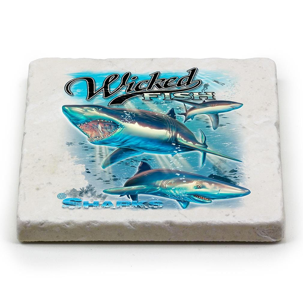 Fishing Wicked Fish Shark Ivory Tumbled Marble 4IN x 4IN Coasters Gift Set