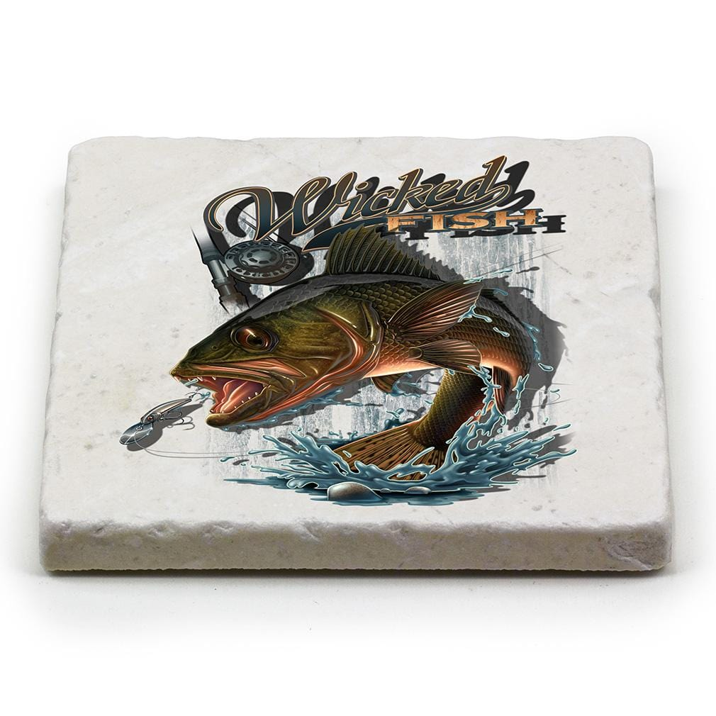 Fishing Wicked Fish Walley Ivory Tumbled Marble 4IN x 4IN Coasters Gift Set