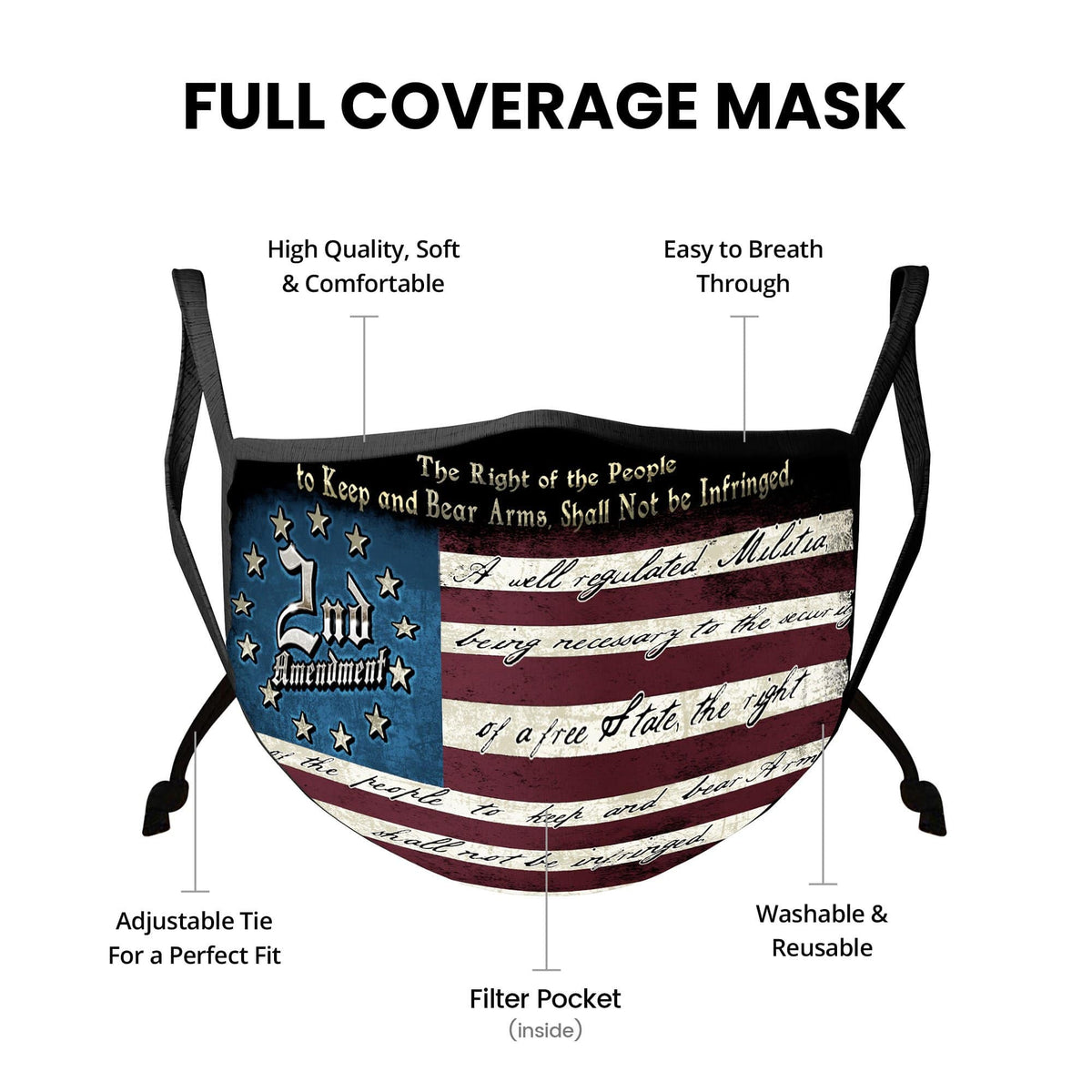 2nd Amendment The Right of The People Patriot Face Mask