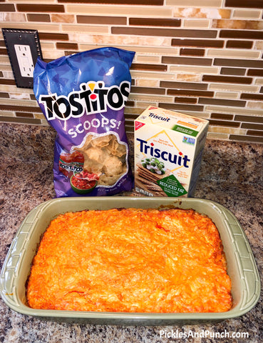 Pickles And Punch Buffalo Chicken Dip Recipe Simple and Delicious Buffalo Chicken Dip Football Food Super Bowl food SuperBowl Food