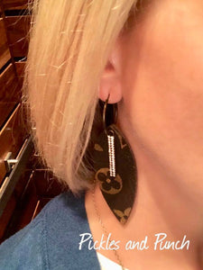 Upcycled Designer LV Material - Feather Shape w/ Crystal Bar Dangle Earrings