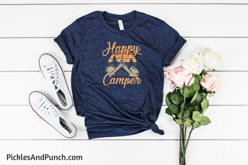 Happy Camper vintage distressed nostalgic tshirt tee statement tee graphic tee
