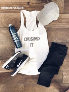 crushed it fitness tank New Years resolution fitness goals work out workout tank yoga fitness exercise athletic tank top