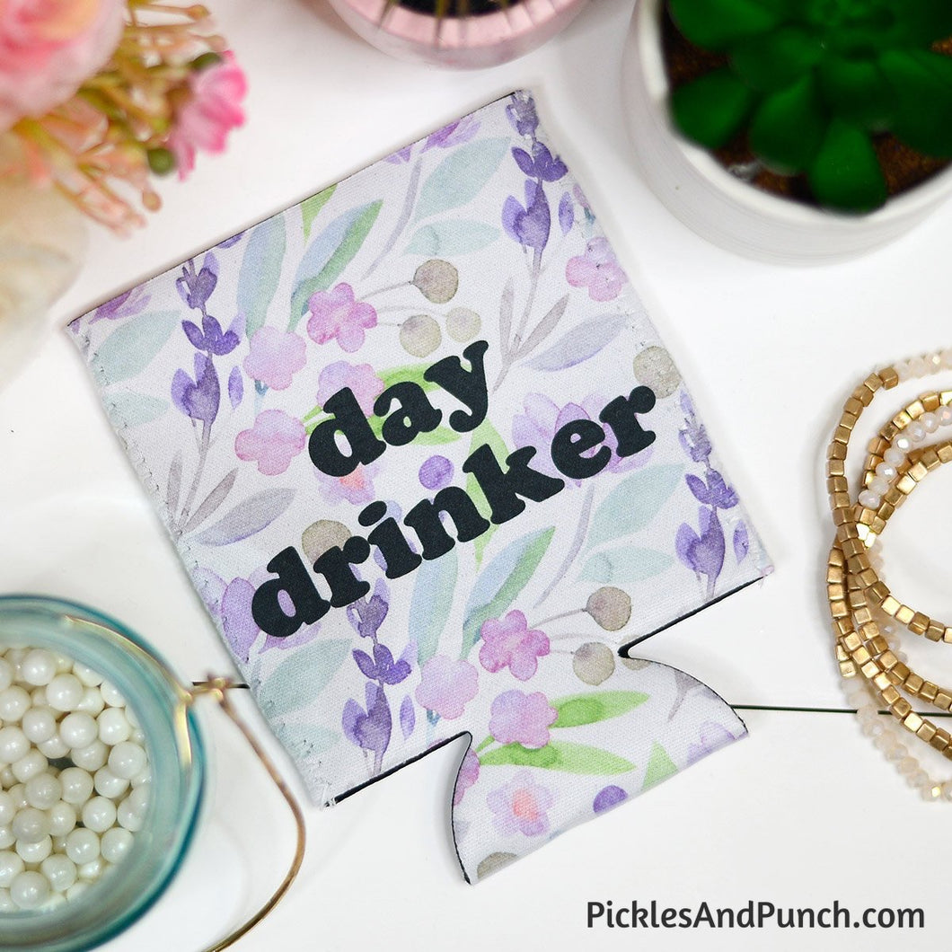 day drinker floral koozie girls trip girls' day drinking coolie koozie lake pool beach cruise