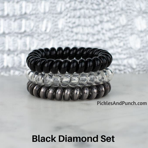 Hotline Hair Ties hair bands hair elastics hair ties that shrink when you heat them hot water blow dry  black diamond set