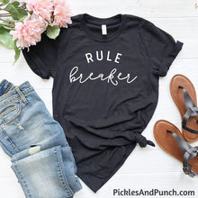 Load image into Gallery viewer, rule breaker edgy doesn't follow rules rules are meant to be broken mom t-shirt statement tee
