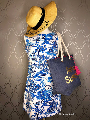 pagoda blossom print sheath dress sunhat tote bag beach bag pool bag lily pulitzer inspired
