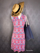 Load image into Gallery viewer, lily pulitzer inspired country club collar preppy look non wrinkle easy care