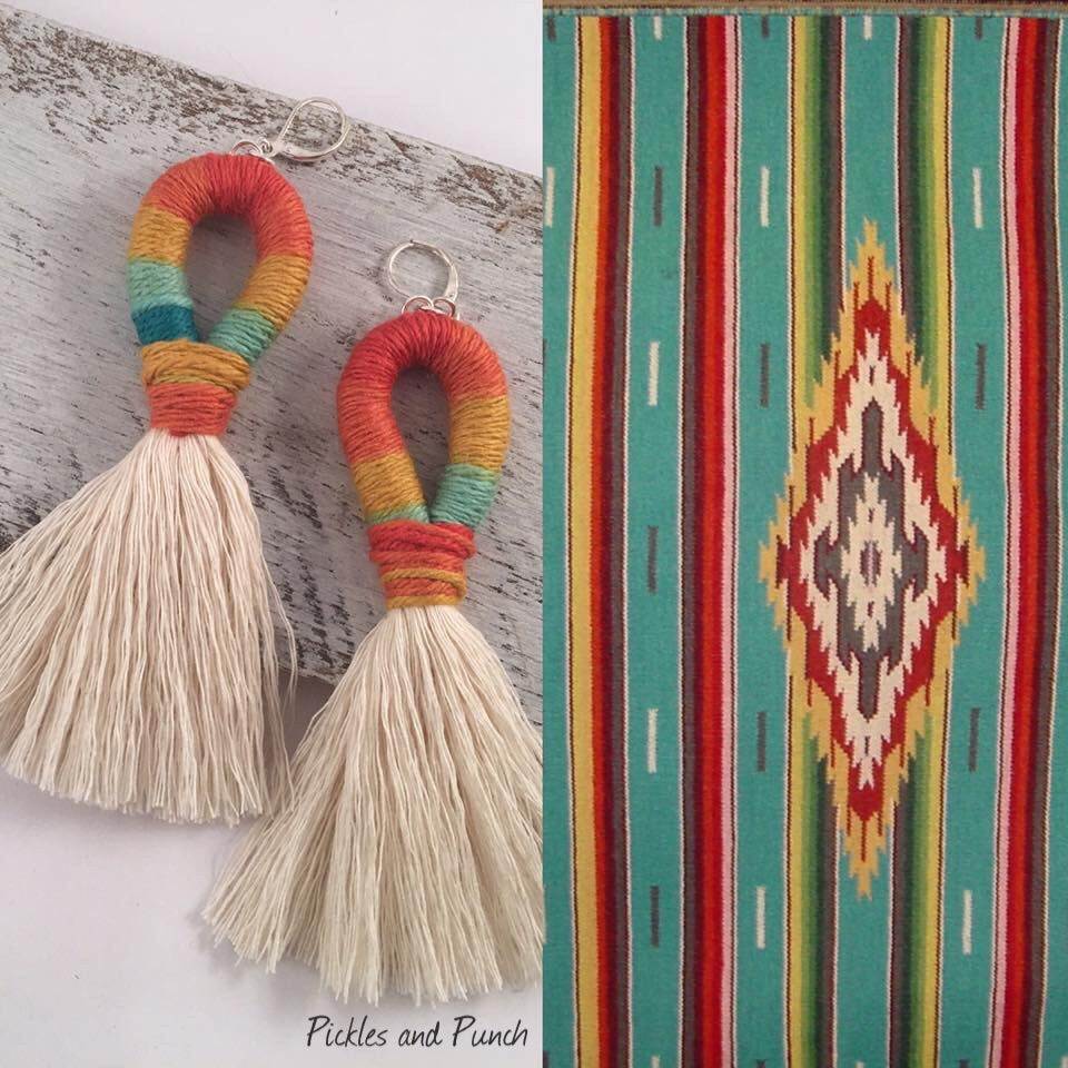 Handmade earrings serape made in USA vacation earrings festive hand woven