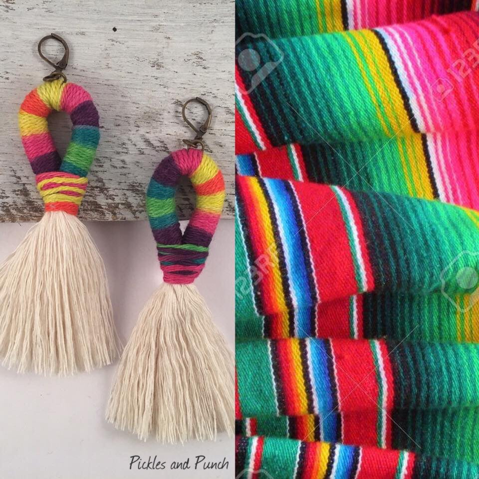 Handmade earrings fiesta made in USA vacation earrings festive hand woven
