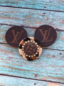 pop up phone grips sockets Louis Vuitton upcycled leopard animal print