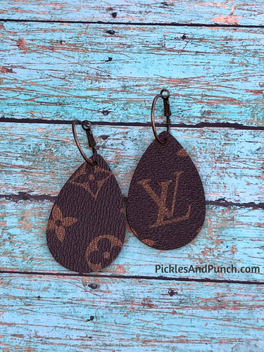 Upcycled Designer LV Material - Short Teardrop Earrings