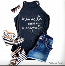 Load image into Gallery viewer, mamacita needs a margarita cinco de mayo taco Tuesday statement t district rocker tank