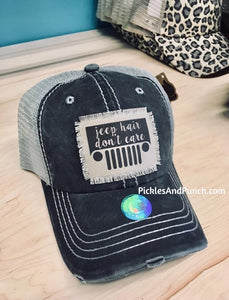 Jeep Hair Don't Care Ponytail Back Trucker Hat