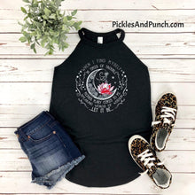 Load image into Gallery viewer, When I Find Myself In Times Of Trouble Mother Mary Comes To Me Speaking Words Of Wisdom Let It Be song lyrics on a District Rocker Halter Tank