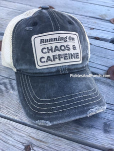 trucker hat distressed black with khaki mesh back running on chaos and caffeine