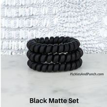 Load image into Gallery viewer, Hotline Hair Ties hair bands hair elastics hair ties that shrink when you heat them hot water blow dry Black Matte