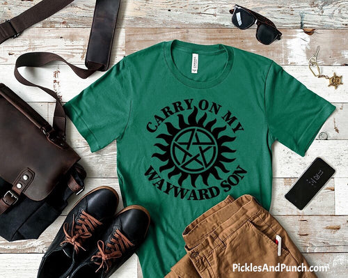 carry on my wayward son supernatural dean Winchester song lyrics mens tshirt