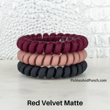 Load image into Gallery viewer, Hotline Hair Ties hair bands hair elastics hair ties that shrink when you heat them hot water blow dry  red velvet matte set
