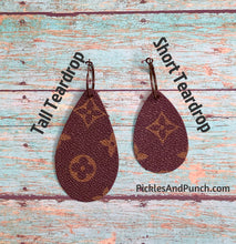 Load image into Gallery viewer, Upcycled Designer LV Material - Tall Teardrop Earrings
