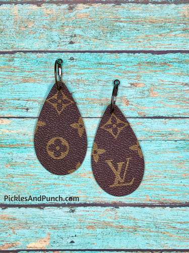upcycled repurposed Louis Vuitton designer earrings lv
