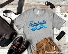 Load image into Gallery viewer, motorboatin motorboating waves lake boat river tshirt mens