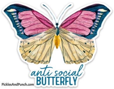 anti social antisocial butterfly sticker social butterfly large vinyl sticker laptop sticker large oversized sticker