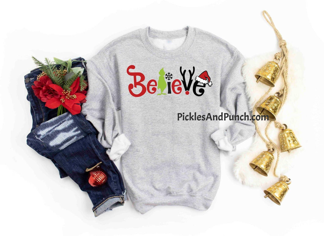 believe christmas holiday sweatshirt Rudolph Santa snowflake grinch polar express
