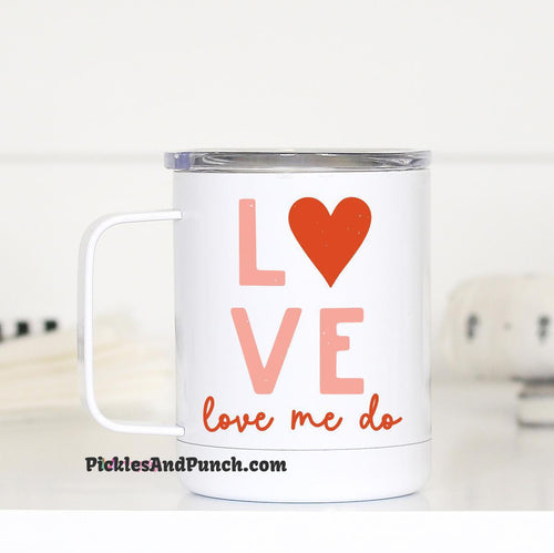 love love me do lyrics Beatles songs short travel mug insulated valentines day coffee lover hot coffee