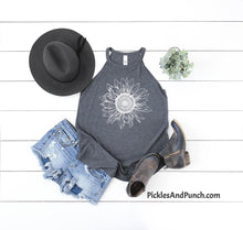 Load image into Gallery viewer, sunflower design district rocker halter tank sunflower drawing