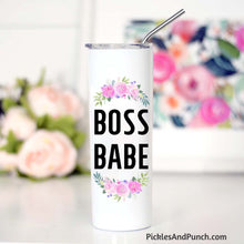 Load image into Gallery viewer, boss babe travel tumbler stainless steel straw sipper lid travel mug boss woman