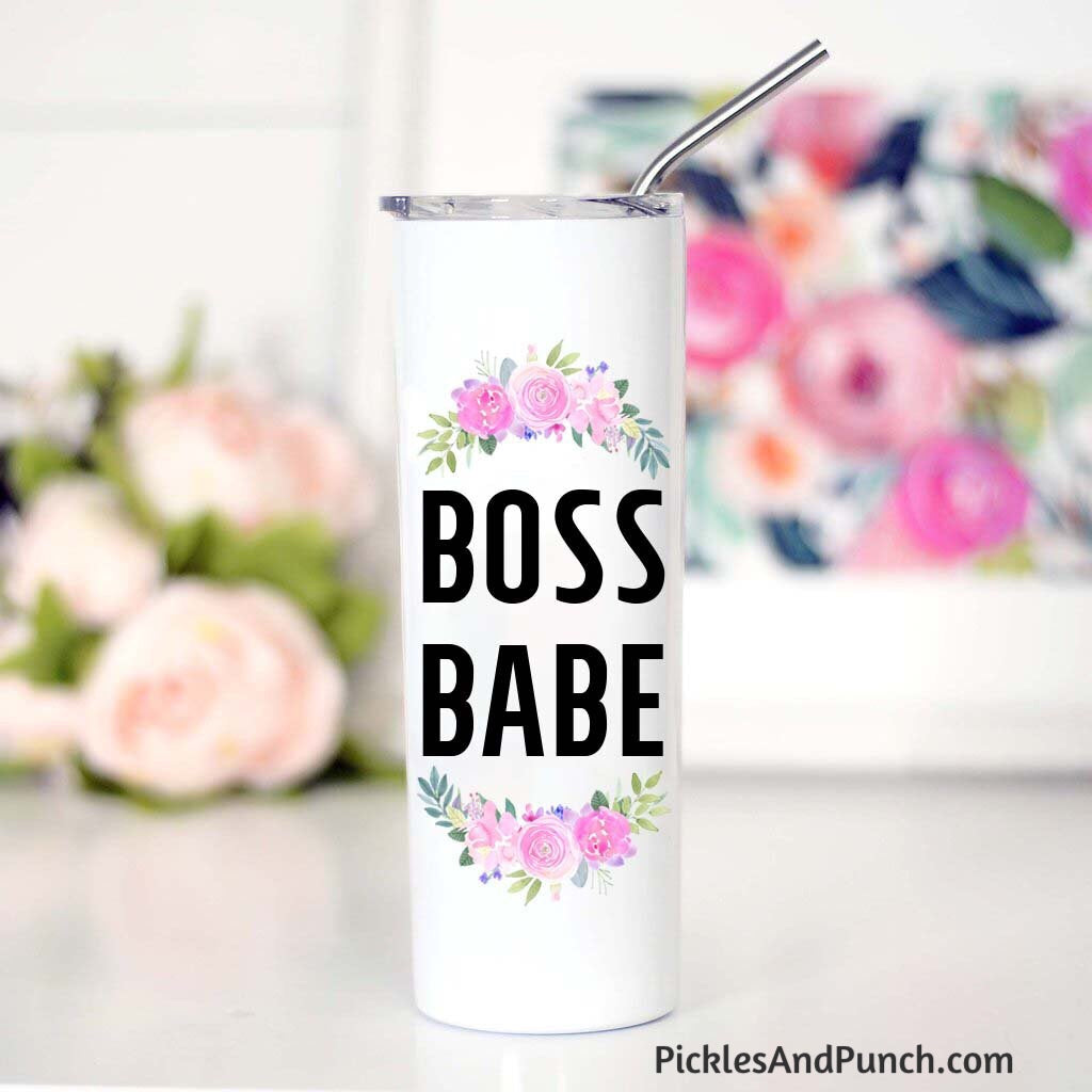 boss babe travel tumbler stainless steel straw sipper lid travel mug boss woman