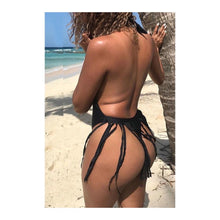 Load image into Gallery viewer, Black Tassel Thong Swimsuit